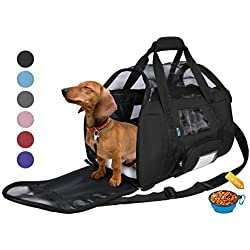 Tirrinia Soft Sided Pet Carrier Travel Bag for Small Dogs and Cats Small Animals Airline Approved with Removable Sherpa Lining Bed and Lost & Found Tag Black