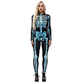 - 41eW7adnOVL - Youmay Womens Halloween Skeleton 3D Print Vampire Costume Bone Skull Skinny Catsuit Jumpsuit