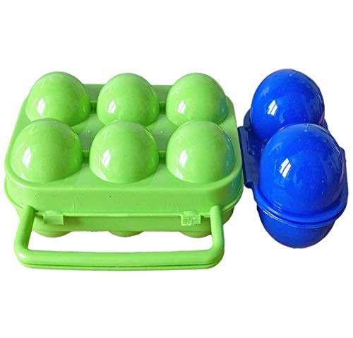R.FLOWER Portable Egg Storage Box Container Hiking Outdoor Camping Carrier 2 Egg Case and 6 Egg Case