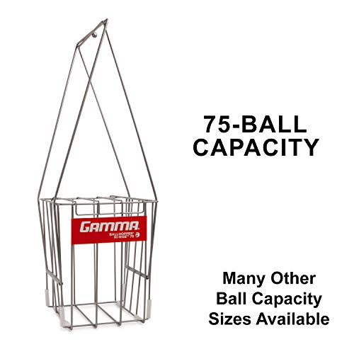 GAMMA Tennis Ball Hopper Hi-Rise 75| Silver Tennis Ball Holder W/ 75 Ball Capacity| Easy Pick Up- Fingertip Height Basket| Lid For Spill Prevention| Premium Tennis Accessories, Carriers & Ball Pick-ups