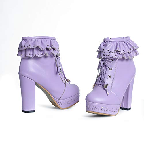 Susanny Womens Office Party Sweet Lolita Platform Chunky High Heel PU Lace up Purple Ankle Boots 9 B (M) US