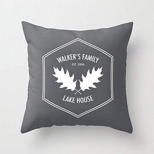 Custom Rustic Pillow Cover, Grey pillow cover, Lake Pillow cover, Custom family pillow cover, Custom quote Pillowcase, Hostess gift, Lake House Decor by Mini Wood (Image #2)