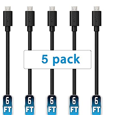 Mopower Micro USB Cable,5 Pcs 6FT High Speed USB 2.0 A Male to Micro B Charge and Sync Cables for Samsung,LG,BlackBerry and Motorola Smartphones & Tablets Black (5-Pack)
