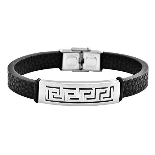 Edforce Stainless Steel Mens Greek Wall Accented Black Genunie Leather Bracelet, -