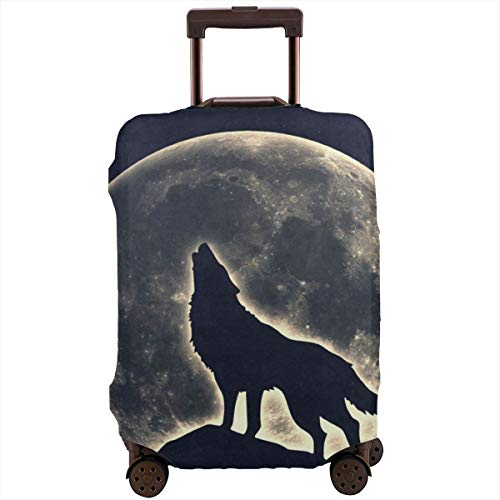 Luggage Cover Howling Wolf Moon Night Amazing Travel Suitcase Cover Protector Bag Dustproof Washable Fits 18-32 Inch Luggage ()