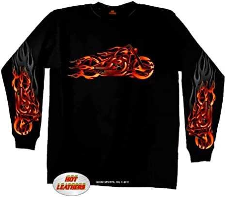 Hot Leathers Fire Bobber Long Sleeve T-Shirt Black, XXX-Large