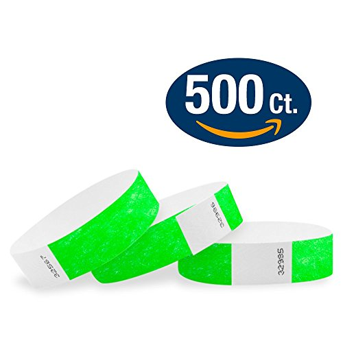 "WristCo Neon Green 3/4"" Tyvek Wristbands - 500 Pack Paper Wr"