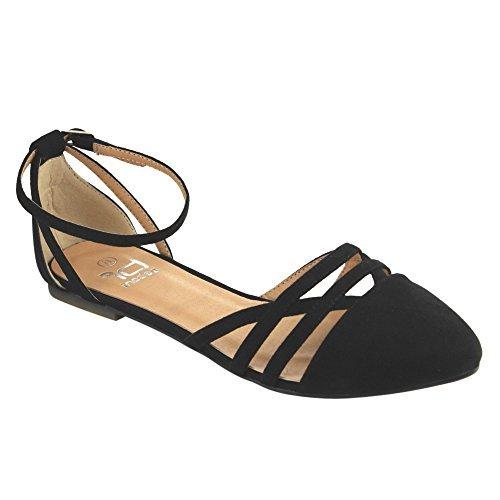 Betani Abela-9 Women's Ankle Strap Ballerina Ballet Flats,Black,8 (Womens Flat Dress Shoes)
