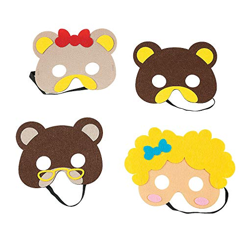 Fun Express Goldie Locks & Three Bears Masks | 4 Count | Great for Costume Parties, Classroom Activities, Kids Storytelling, Art -