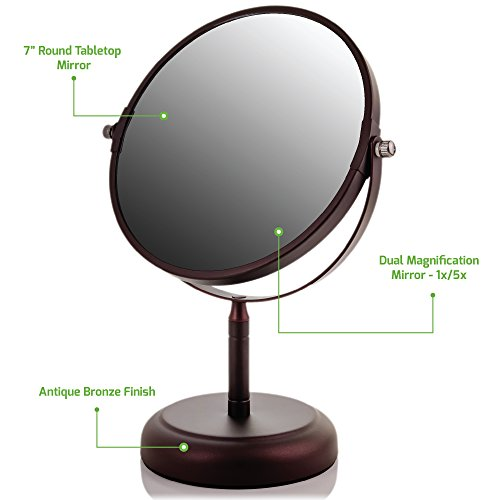 Ovente Round Tabletop Vanity Mirror, 7 Inch, Dual-Sided with 1x/5x magnification, Antique Bronze (MNLDT70ABZ1X5X) by Ovente