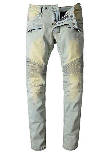 Men's Distressed Slim Straight Fit Fashion Blue Biker Jeans with Zip Deco 40