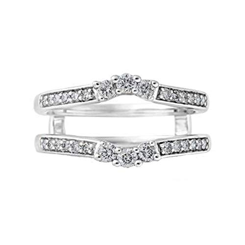 bbamjewelry 14K White Gold Fn 0.50 Ct Round Cubic Zirconia Solitaire Enhancer Ring Guard