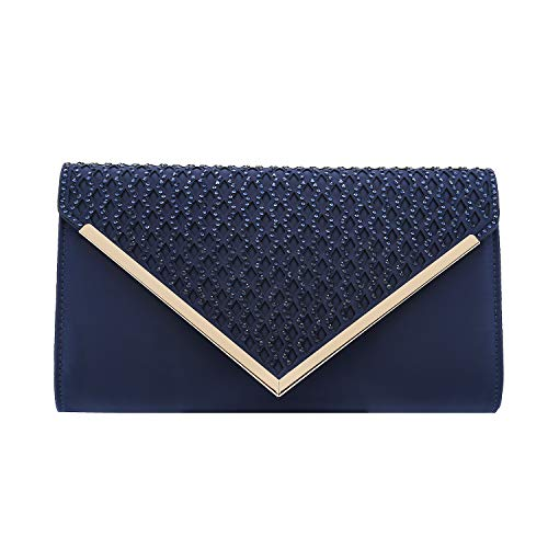 (Charming Tailor Elegant Satin Clutch Shimmering Rhinestones Laser-cut Flap Prom Purse (Navy))