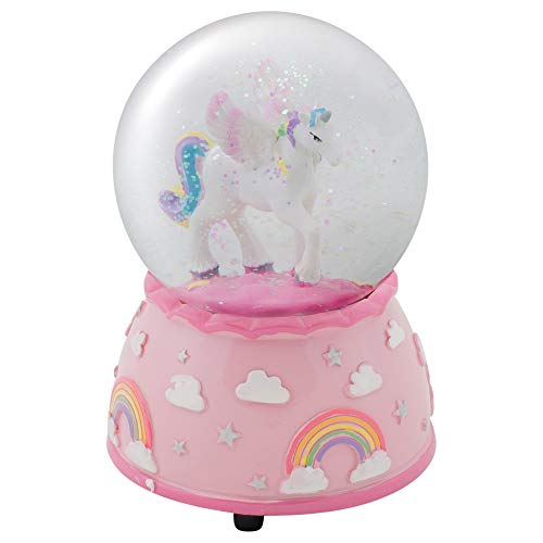 - Elanze Designs Unicorn Rainbows on Pink Musical 80MM Water Globe Plays Tune The Unicorn