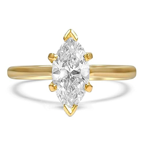 espere Sterling Silver Marquise Cut Cubic Zirconia CZ Solitaire Engagement Ring 14K Gold Plating Size 7