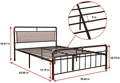 WAYTRIM Vintage Metal Bed Frame Platform with Headboard and Footboard, Heavy Duty Steel Slat Support, Box Spring Replacement, Retro Water Pipe Design – Queen Size 41eWAnFO 2BLL
