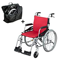 """Hi-Fortune Wheelchair 21lbs Lightweight Self-propelled Manual Wheelchairs for Adults with Cushion and Travel Bag, Portable and Folding, 17.5"""" Seat, Red"""