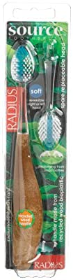 Radius Source Toothbrush, Soft Bristles, (Adult), 1 Toothbrush + Refill, Colors May Vary (Pack of 3)