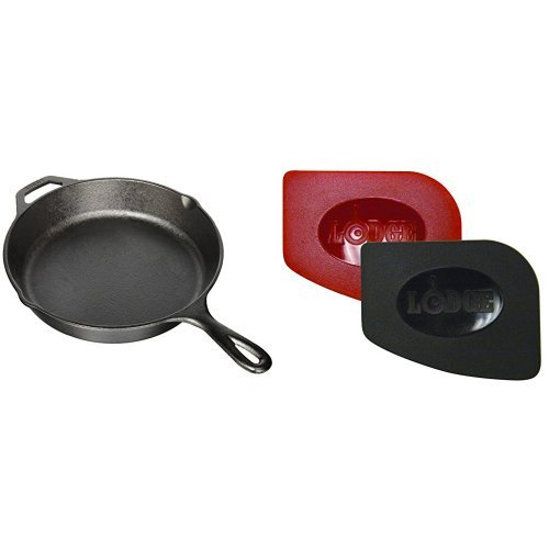 Lodge L8SK3 Pre-Seasoned Cast-Iron Skillet, 10.25-inch and Lodge SCRAPERPK Durable Polycarbonate Pan Scrapers, Red and Black, 2-Pack Bundle (2 Pack Skillet)