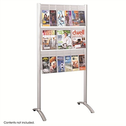 Safco Products 4135SL Luxe Magazine Floor Rack, 9 Pocket, Silver
