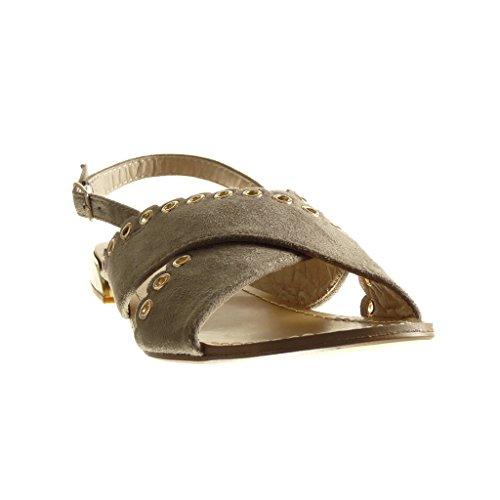 Plat cm Beige Clouté Chaussure 1 Perforée 5 Ouverte Sandale Femme Talon Mode Angkorly U4ABc