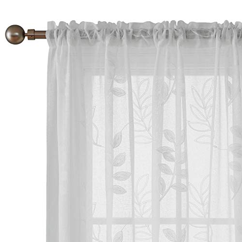 Deconvo Floral Embroidered White Sheer Curtains Faux Linen Rod Pocket Sheer Curtain Panels for Bedroom 52x63 Inch White 2 ()