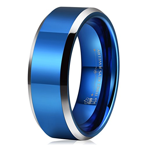 - THREE KEYS JEWELRY 8mm Tungsten Wedding Ring for Men Blue High Polised Finish Center Beveled Silver Edge Mens Wedding Band Engagement Ring Size 10