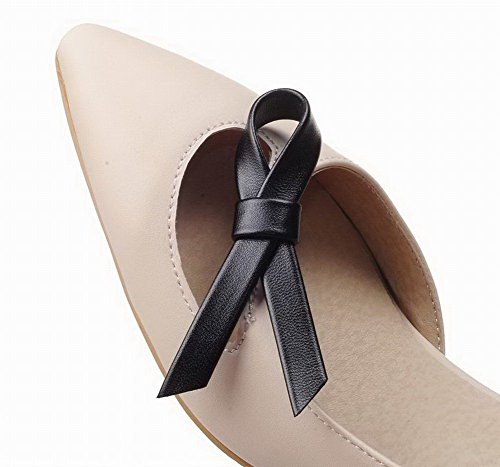 Pull WeenFashion Women's Closed Solid Sandals Beige Heels Pu Toe Kitten On ftxZdwxr
