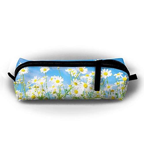 Fashion Pencil Case Zipper Pen Pouch Spring Daisy Flower Sea Printing Student Small Pen Bag Rectangular Pouch -