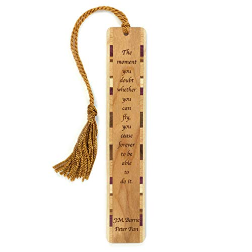 Peter Pan Quote - J.M. Barrie Engraved Wooden Bookmark with Tassel - Personalized Version Also Available - Search B071RKP2RC (Peter Pan And The Lost Boys Cartoon)