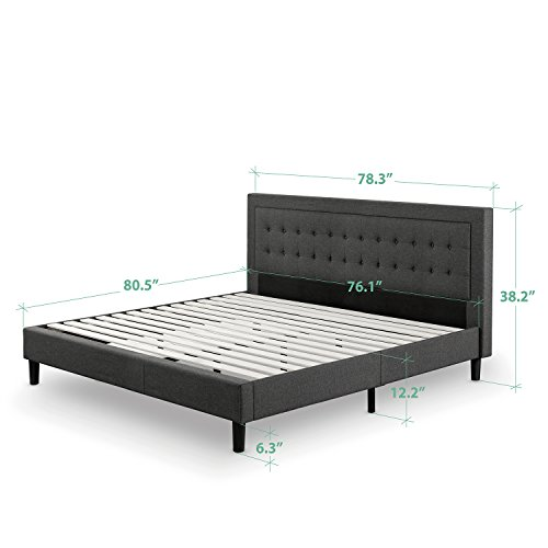Zinus Upholstered Button Tufted Premium Platform Bed / Strong Wood Slat Support / Dark Grey, King