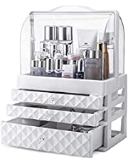 Makeup Organizer Case Acrylic Case Cosmetic Organizers, Holder Box Display, 3 Drawers + Dust Proof Cover, for Dresser, Bedroom, Bathroom