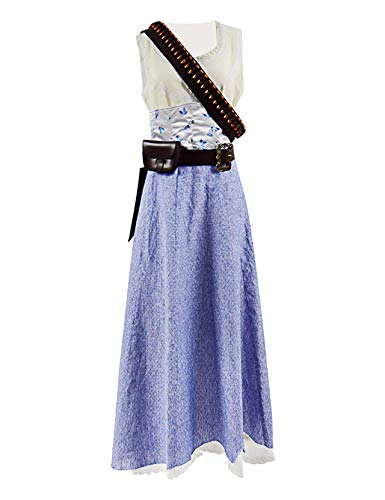 Xiao Maomi Womens Blue Dress Cosplay Costume Suit Halloween Dress Including Belt and Bag (Woman-XL, White-Blue) -
