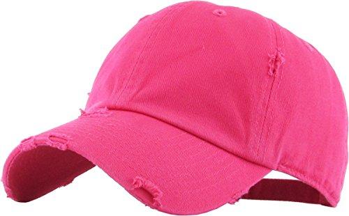 KBETHOS Vintage Washed Distressed Cotton Dad Hat Baseball Cap Adjustable Polo Trucker Unisex Style Headwear (Vintage) Hot Pink Adjustable