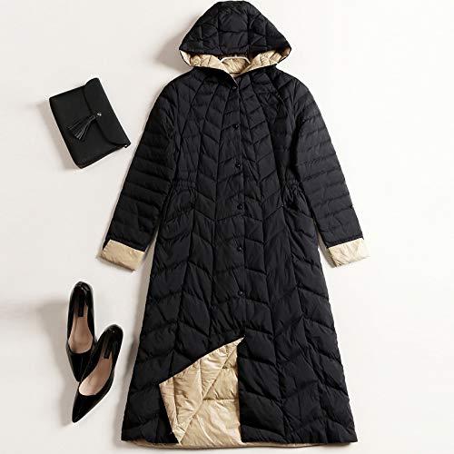 MINMINA Damen Daunenjacke Herbst und Winter Daunenjacke Europäische und amerikanische Mode Daunenjacke Hit Farbe Kapuzen-Damen Daunenjacke, schwarz, M