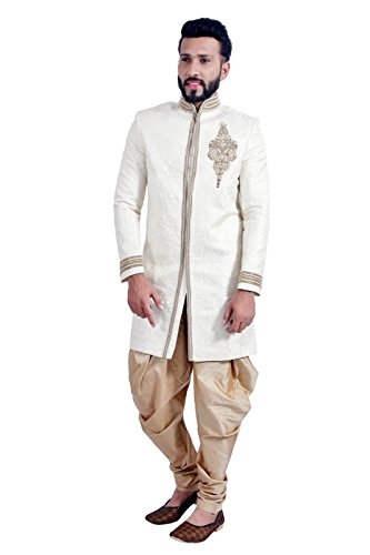 Off White Indian Wedding Indo-Western Sherwani for Men by Saris and Things