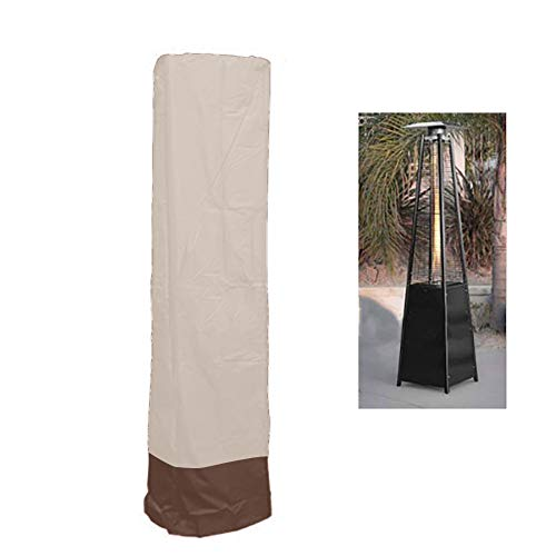 QEES Patio Heater Cover, Heavy Duty Waterproof Veranda Outdoor Heater Cover for Pyramid Torch Patio Heaters, Triangle Glass Tube Heater JJZ23 (Beige)