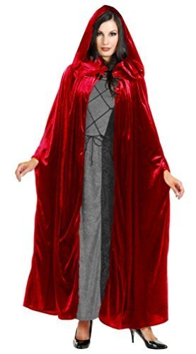 Panne Velvet Hooded Cloak Costume Accessory - One Size - Chest Size 40-44 - Panne Velvet Cape
