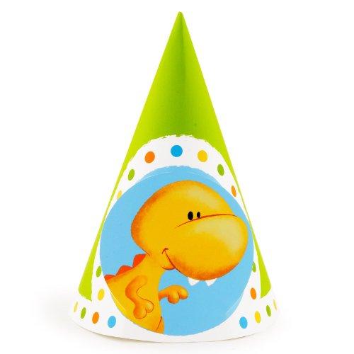 [Dinosaur Birthday Party Little Dino Cone Hats (8)] (Dinosaur Hats)