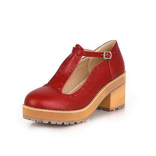 Vouge001 Womans Closed Toe Round Toe Kitten Heel PU Soft Material Solid Pumps with t-strap Red SLMdz
