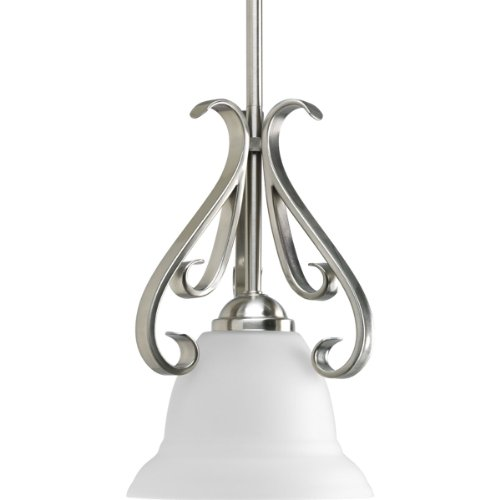 Progress Lighting P5153-09 1-Light Stem-Hung Mini-Pendant with Etched White Glass, Brushed Nickel - Brushed Nickel 100w Stem