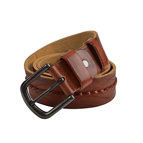 GSG Mens Fashion Vintage Genuine Leather Belt Strap Round Buckle Textured Belts (Belt Vintage Cognac)