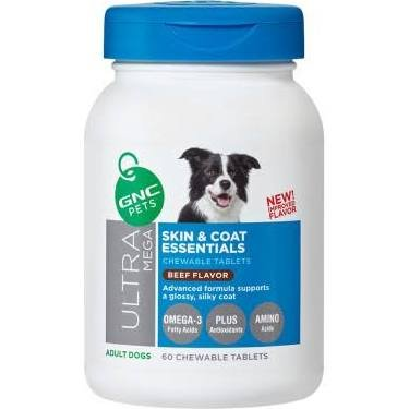 GNC Ultra Mega Skin Coat Essentials Adult Dog Chewable Tablet Beef Flavor 60 Tablets by GNC Pets