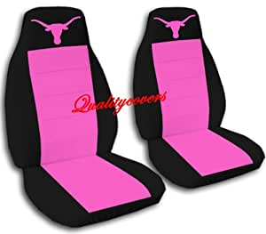 2 black and hot pink longhorn seat covers steering wheel cover with longhorn. Black Bedroom Furniture Sets. Home Design Ideas