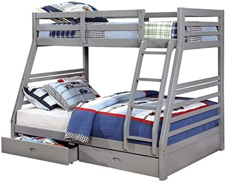 BOWERY HILL Twin Over Full Bunk Bed with Storage in Gray