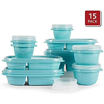Rubbermaid TakeAlongs 2-Compartment Meal Prep and Food Storage Kit, 30 Pieces including Lids, BPA-Free Plastic, Reflecting Pool