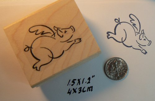 Flying pig rubber stamp WM P16 - Flying Pigs Farm