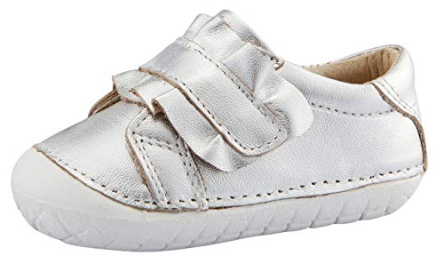 Old Soles Boy's and Girl's Frill Pave Premium Leather First Walker Sneaker Shoes (Silver/Silver, 20 M EU/ 4 M US Toddler)