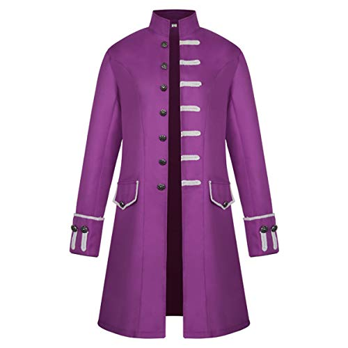 iCos Unisex Medieval Steampunk Coat Men Stand Collar Jacket Formal Halloween Costume Uniform (Large, Purple)