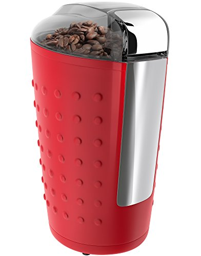 Vremi Electric Coffee Grinder - Portable Coffee Bean Grinder with Easy Touch Settings Stainless Steel Blades & 150W Power Motor - Grinds Coarse Fine Ground Beans for 12 to 14 Cups of Coffees - Red
